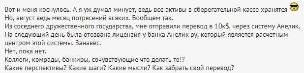 Центробанк дал разъяснения относительно зависших в Anelik переводов